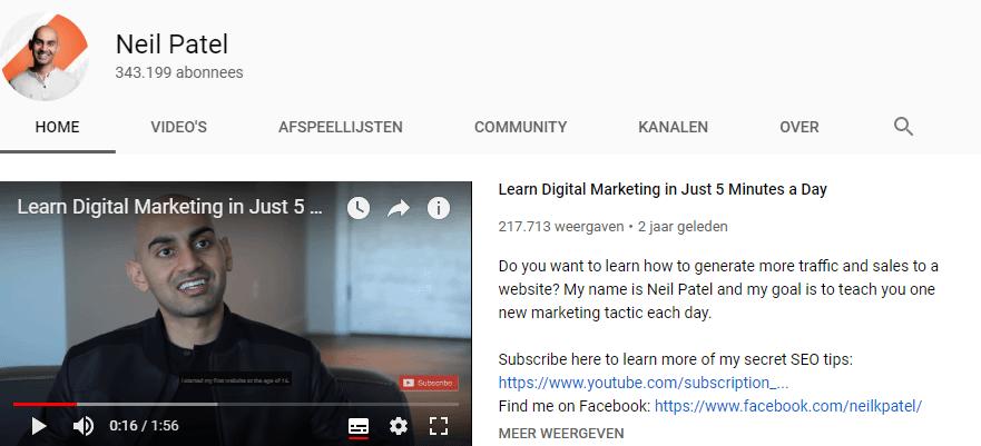 YouTube kanaal Neil Patel
