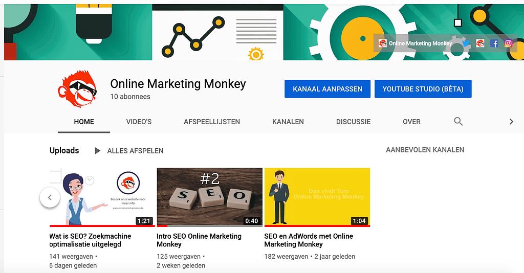 YouTube kanaal Online Marketing Monkey