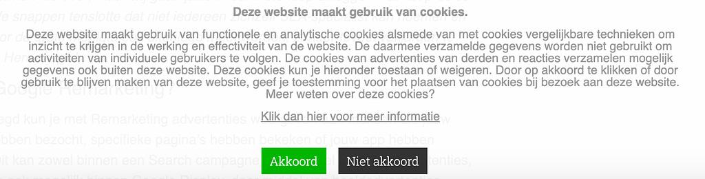 Cookies op een website