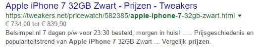 Rich Snippets Producten